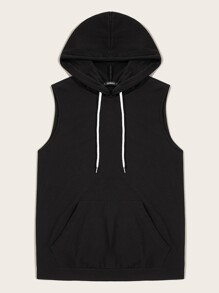 Men Pocket Front Drawstring Hooded Top