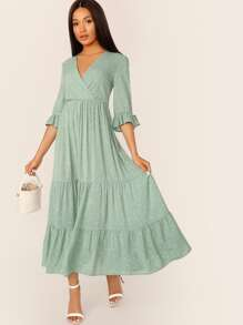 Confetti Heart Print Surplice Neck Knot Sleeve Dress