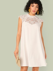 Keyhole Back Lace Insert Swing Dress