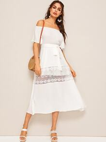 Lace Insert Belted Bardot Flare Dress