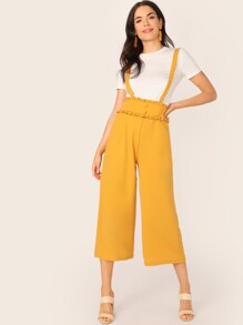 Frill Trim Covered Button Detail Pinafore Pants