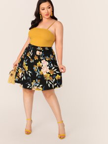 Plus Floral Print Swing Skirt