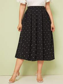 Plus Zipper Fly Box Pleated Dot Skirt