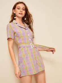 Colorful Tartan Belted Notched Shirt Romper