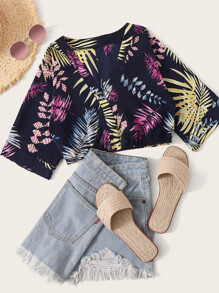 Plants Print Crop Blouse