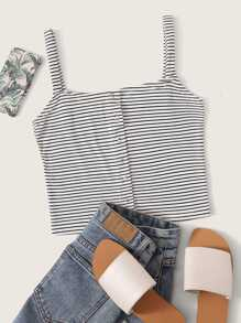 Striped Popper Through Cami Top