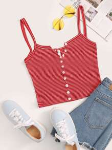 Striped Button Through Cami Top