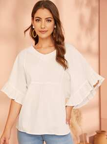 Solid Ruffle Trim Sleeve Blouse