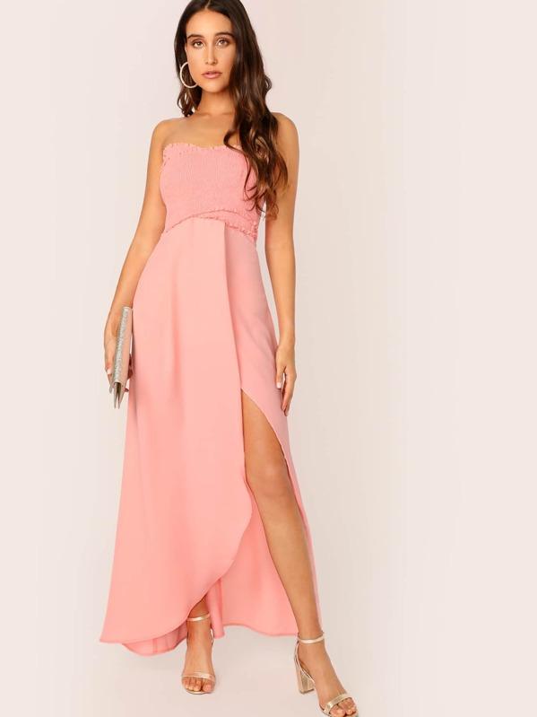 c2299037a5ab2 Frill Trim Shirred Cross Wrap Split Tube Dress
