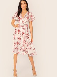 Floral Print Button Front Flutter Sleeve Tea Dress