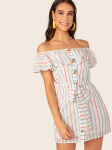 Off Shoulder Foldover Front Buttoned Striped Dress