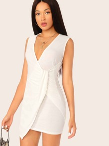 Plunging Neck Wrap Bodycon Dress