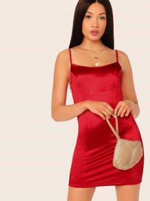 Solid Satin Bodycon Slip Dress