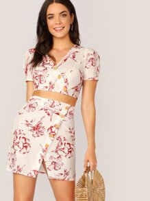 Buttoned Floral Print Wrap Top & Split Skirt Set