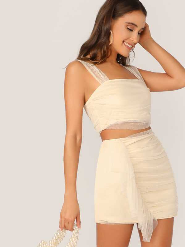 2ce8c3a53b Mesh Overlay Cami Crop Top & Ruffle Trim Skirt Set   SHEIN UK