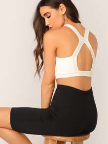 Cutout Back Solid Crop Top