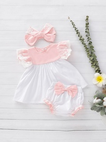 Toddler Girls Contrast Lace Blouse & Bow Shorts & Headband