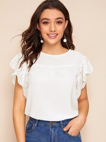 Eyelet Embroidered Flounce Sleeve Blouse