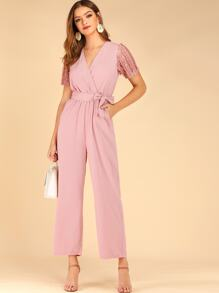 Contrast Lace Sleeve Belted Surplice Jumpsuit