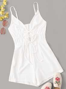 Lace Up Plunging Neck Slip Playsuit