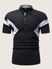 Men Button Contrast Panel Polo Shirt