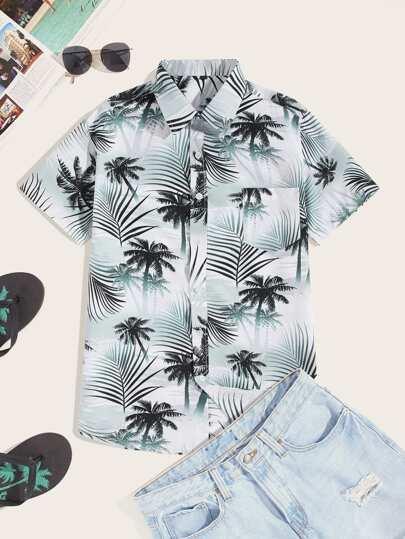 f7e3dbe98 Men Palm Tree Print Pocket Hawaiian Shirt