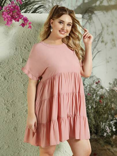 88f3534daa86e2 Plus Ruffle Sleeve Ruffle Hem Smock Dress