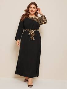 Plus Contrast Leopard Print Belted Maxi Dress