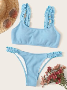Rib-knit Lettuce Trim Bikini Set