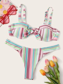 Striped Knot Top With High Leg Bikini Set