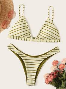 Striped Triangle Top With High Cut Bikini Set