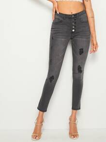 Button Fly Ripped Skinny Jeans
