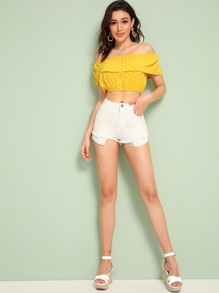 Asymmetrical Raw Hem Denim Shorts