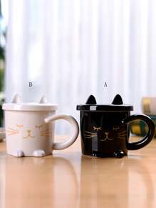 Cat Shaped Mug With Cover 1pc