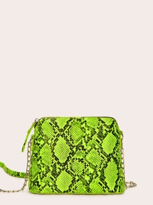 Neon Green Snakeskin Chain Crossbody Bag