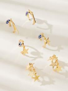 Star & Eye Charm Drop Earrings 3pairs