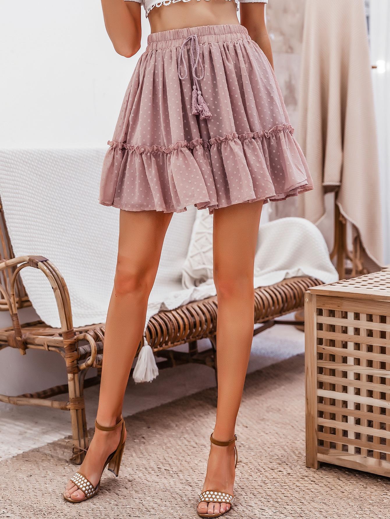 Women Boho Mini Skirt Flared Skirt Casual Skirt Short Pink Skirt Drawstring Waist Swiss Dot Frill Trim Skirt Bohemian Clothes