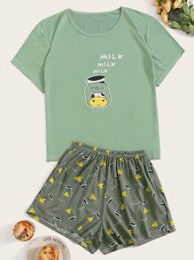 Cow & Bottle Print Pajama Set