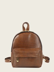 Snakeskin Embossed Pocket Front Backpack