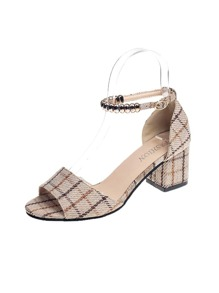 Ankle Strap Plaid Chunky Heels