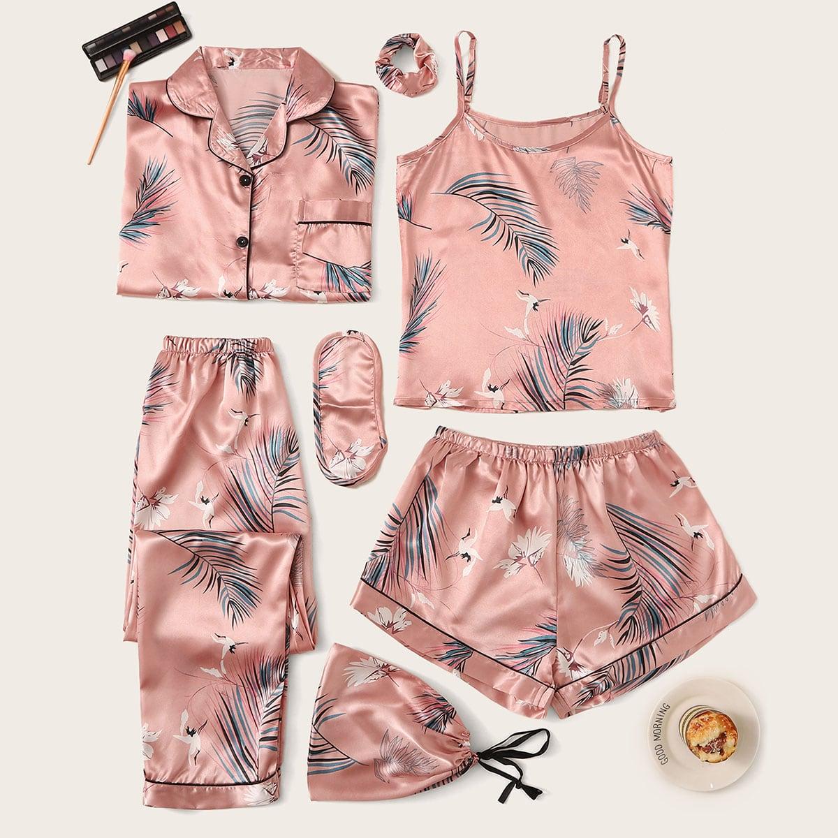 Комплект Атласной Пижамы Из 7 Предметов