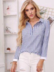 Curved Hem Striped Blouse