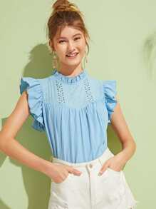 Eyelet Embroidery Butterfly Sleeve Blouse