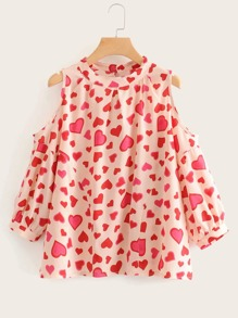 Heart Print Cold Shoulder Blouse