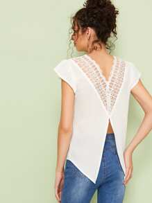 Contrast Lace Back Chocker Neck Blouse