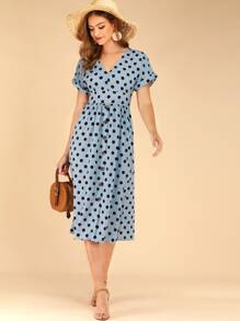 Polka Dot Button Front Flared Dress