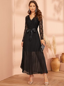 Lace Panel Plisse Hem Belted Dress