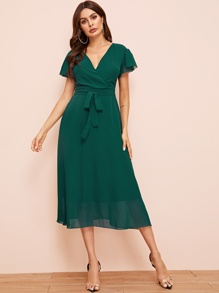 Surplice Front Belted Chiffon Dress