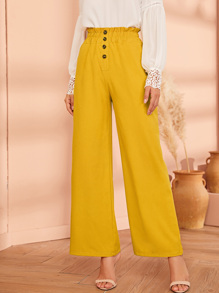 Button Paper Bag Wide Leg Pants
