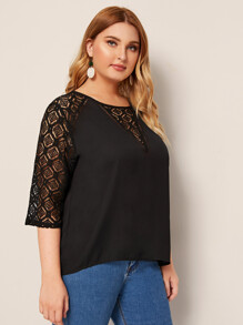 Plus Raglan Sleeve Lace Contrast Blouse